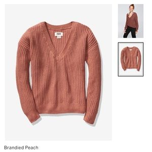 Pink Knitted V-Neck Sweater